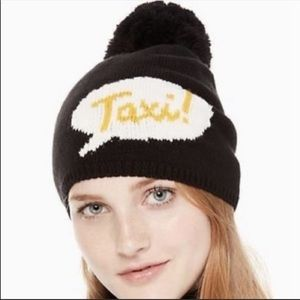 "Kate Spade ""Taxi"" word bubble black beanie w\ Pom"